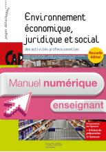 Environnement économique juridique social CAP - Manuel numérique enseignant simple - Ed. 2015