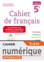 Version numérique élève Cahier de français cycle 4 / 5e - éd. 2019
