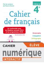 Version numérique élève Cahier de français cycle 4 / 4e - éd. 2019