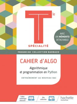 Barbazo Cahier d'Algo Mathématiques terminales spécialité - Ed. 2020