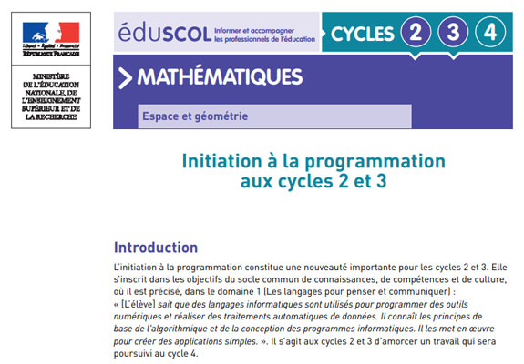 initiation programmation cycles 2 et 3